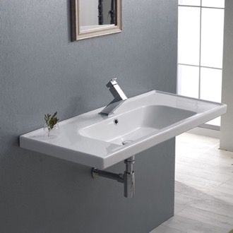 Bathroom Sink Rectangle White Ceramic Wall Mounted or Drop In Sink CeraStyle 031400-U