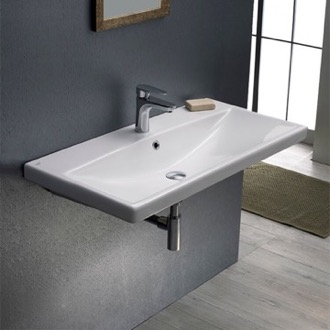 Bathroom Sink Rectangular White Ceramic Wall Mounted or Drop In Sink CeraStyle 032100-U
