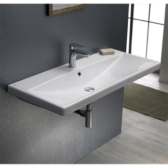 Bathroom Sink Rectangle White Ceramic Wall Mounted or Drop In Sink CeraStyle 032400-U