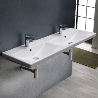 Bathroom Sink Rectangular Double White Ceramic Wall Mounted or Drop In Sink CeraStyle 032500-U
