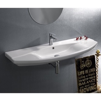 Bathroom Sink Rectangle White Ceramic Wall Mounted or Drop In Sink CeraStyle 032800-U