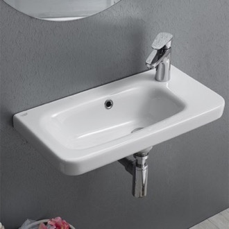 Bathroom Sink Rectangular White Ceramic Wall Mounted or Drop In Sink CeraStyle 033000-U