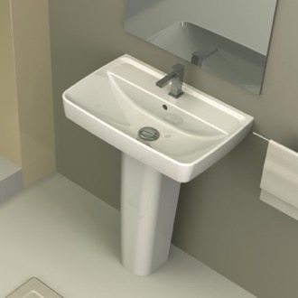 Bathroom Sink Rectangular White Ceramic Pedestal Sink CeraStyle 035100U-PED