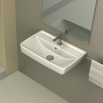 Bathroom Sink Rectangular White Ceramic Wall Mounted or Drop In Sink CeraStyle 035100-U