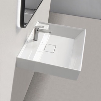 Bathroom Sink Square White Ceramic Wall Mounted or Drop In Sink CeraStyle 037000-U