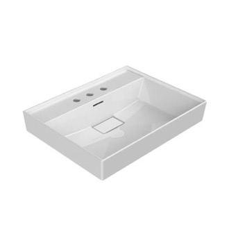 Bathroom Sink Rectangular White Ceramic Wall Mounted or Drop In Sink CeraStyle 037100-U-Three Hole
