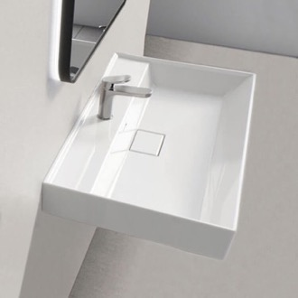 Bathroom Sink Rectangular White Ceramic Wall Mounted or Drop In Sink CeraStyle 037100-U-One Hole