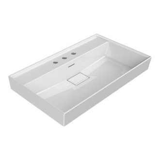 Bathroom Sink Rectangular White Ceramic Wall Mounted or Drop In Sink CeraStyle 037300-U-Three Hole