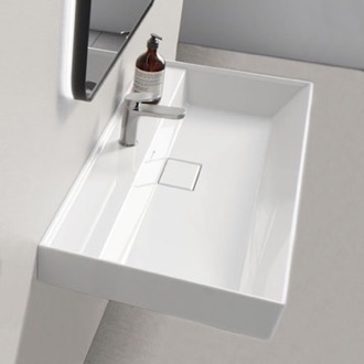Bathroom Sink Rectangular White Ceramic Wall Mounted or Drop In Sink CeraStyle 037300-U
