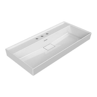 Bathroom Sink Rectangular White Ceramic Wall Mounted or Drop In Sink CeraStyle 037500-U-Three Hole