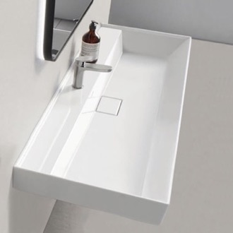 Bathroom Sink Rectangular White Ceramic Wall Mounted or Drop In Sink CeraStyle 037500-U
