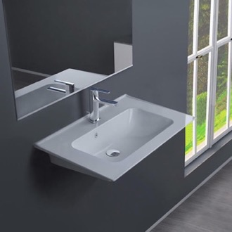 Bathroom Sink Rectangular White Ceramic Wall Mounted or Drop In Sink CeraStyle 041900-U