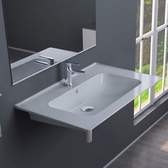 Bathroom Sink Rectangular White Ceramic Wall Mounted or Drop In Sink CeraStyle 042000-U