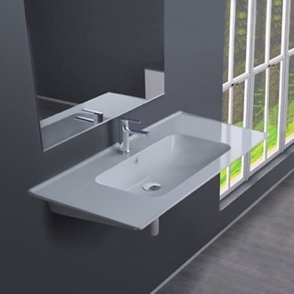Bathroom Sink Rectangular White Ceramic Wall Mounted or Drop In Sink CeraStyle 042300-U