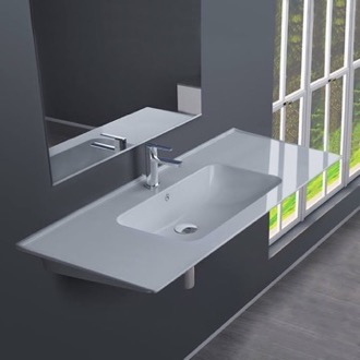 Bathroom Sink Rectangular White Ceramic Wall Mounted or Drop In Sink CeraStyle 042500-U