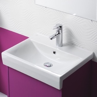 Bathroom Sink Rectangle White Ceramic Semi Recessed or Wall Mounted Sink CeraStyle 063500-U