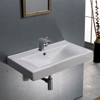Bathroom Sink Rectangular White Ceramic Wall Mounted or Drop In Sink CeraStyle 064400-U