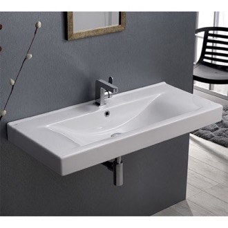 Bathroom Sink Rectangular White Ceramic Wall Mounted or Drop In Sink CeraStyle 064600-U