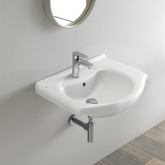 Bathroom Sink Rectangular White Ceramic Wall Mounted or Drop In Bathroom Sink CeraStyle 066000-U
