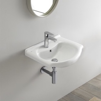 Bathroom Sink Small Ceramic Wall Mounted or Drop In Sink CeraStyle 066200-U