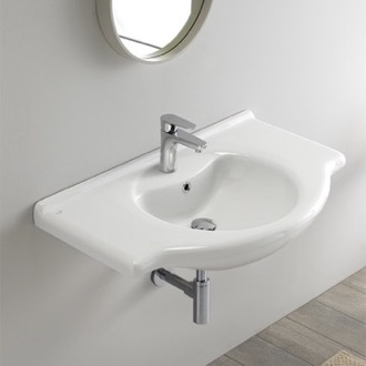 Bathroom Sink Rectangular White Ceramic Wall Mounted or Drop In Sink CeraStyle 066500-U