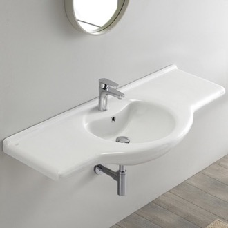 Bathroom Sink Rectangular White Ceramic Wall Mounted or Drop In Bathroom Sink CeraStyle 066700-U