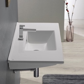 Bathroom Sink Rectangular White Ceramic Wall Mount or Drop In Bathroom Sink CeraStyle 067500-U