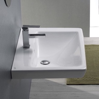 Bathroom Sink Rectangle White Ceramic Wall Mounted or Drop In Sink CeraStyle 068000-U