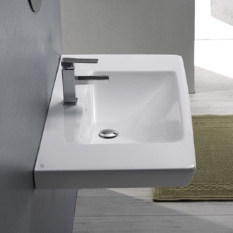 Bathroom Sink Rectangle White Ceramic Wall Mounted or Drop In Sink CeraStyle 068100-U