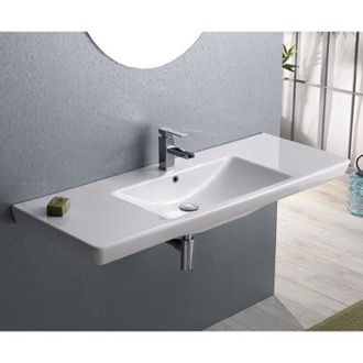 Bathroom Sink Rectangular White Ceramic Wall Mounted or Drop In Bathroom Sink CeraStyle 068500-U