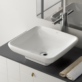 Bathroom Sink Square White Ceramic Vessel Sink CeraStyle 072800-U