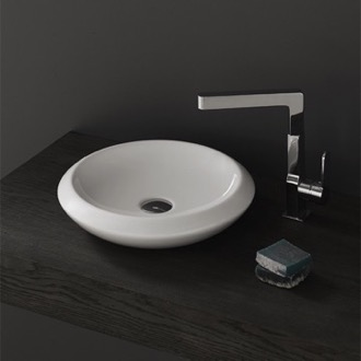 Bathroom Sink Round White Ceramic Vessel Sink CeraStyle 075100-U