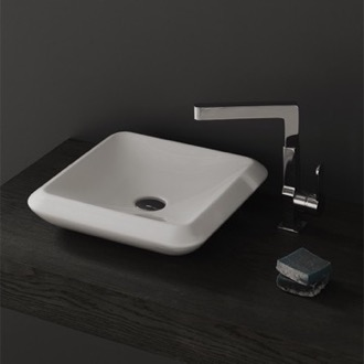 Bathroom Sink Square White Ceramic Vessel Sink CeraStyle 075300-U