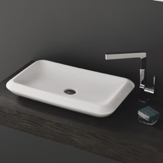 Bathroom Sink Rectangle White Ceramic Vessel Sink CeraStyle 075700-U
