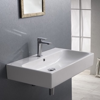 Bathroom Sink Rectangular White Ceramic Wall Mounted or Vessel Bathroom Sink CeraStyle 080000-U