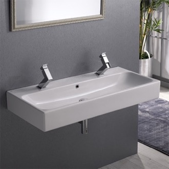 Bathroom Sink Trough Ceramic Wall Mounted or Vessel Sink CeraStyle 080500-U