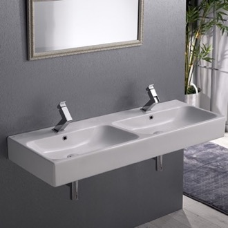 Bathroom Sink Double Rectangular Ceramic Wall Mounted or Vessel Sink CeraStyle 080700-U