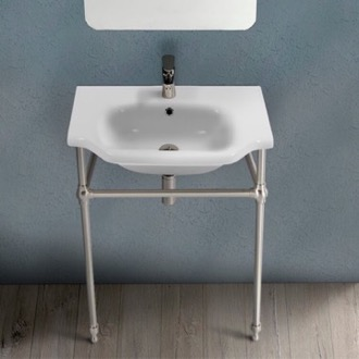 Bathroom Sink Traditional Ceramic Console Sink With Satin Nickel Stand CeraStyle 081000-CON-SN