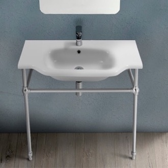 Bathroom Sink Traditional Ceramic Console Sink With Chrome Stand CeraStyle 081200-CON