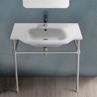 Bathroom Sink Traditional Ceramic Console Sink With Satin Nickel Stand CeraStyle 081200-CON-SN