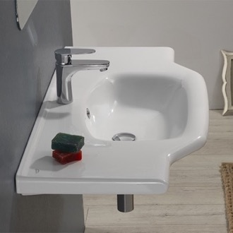Bathroom Sink Rectangular White Ceramic Wall Mounted or Drop In Bathroom Sink CeraStyle 081200-U