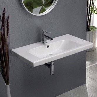 Bathroom Sink Rectangle White Ceramic Wall Mounted or Drop In Sink CeraStyle 081600-U