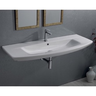 Bathroom Sink Rectangle White Ceramic Wall Mounted or Drop In Sink CeraStyle 083700-U