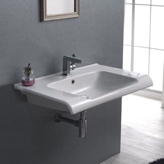 Bathroom Sink Rectangle White Ceramic Wall Mounted or Drop In Sink CeraStyle 090700-U