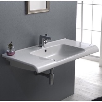 Bathroom Sink Rectangle White Ceramic Wall Mounted or Drop In Sink CeraStyle 090800-U