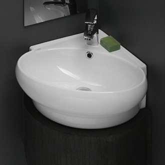 Bathroom Sink Round Corner White Ceramic Wall Mounted or Vessel Sink CeraStyle 002000-U