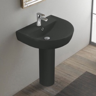 Bathroom Sink Round Matte Black Ceramic Pedestal Sink CeraStyle 003109U-97-PED