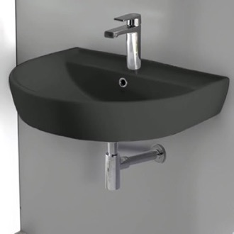Bathroom Sink Round Matte Black Ceramic Wall Mounted Sink CeraStyle 007809-U-97