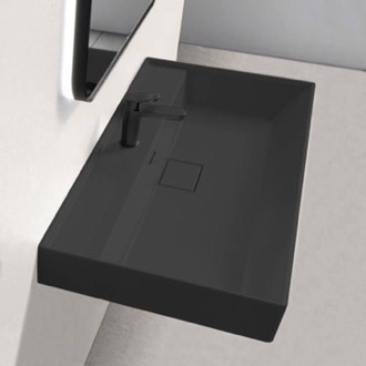 Bathroom Sink Rectangular Matte Black Ceramic Wall Mounted or Drop In Sink CeraStyle 037307-U-97-One Hole