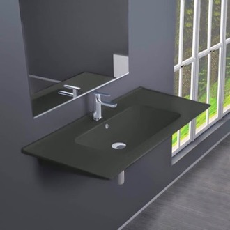 Bathroom Sink Rectangular Matte Black Ceramic Wall Mounted or Drop In Sink CeraStyle 042309-U-97